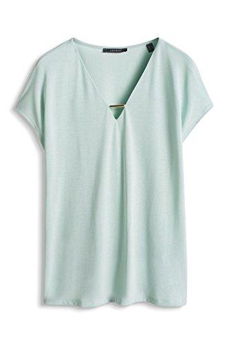 Esprit 056eo1k005-Lockerer Fall, T-Shirt Femme Grün (LIGHT AQUA GREEN 390)