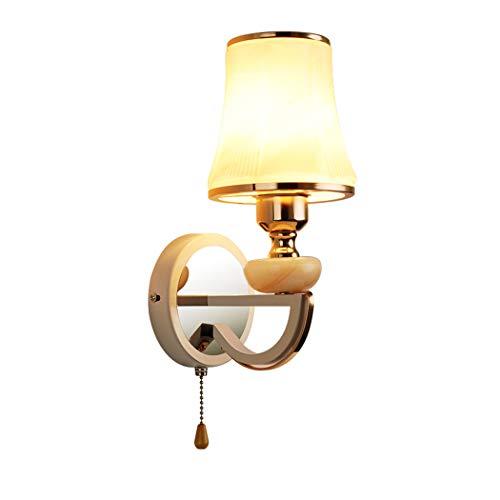 Applique en verre élégante lampe de chevet lampe de lecture brillante avec interrupteur à tirette lampe de mur intérieur chambre salon mur éclairage E27