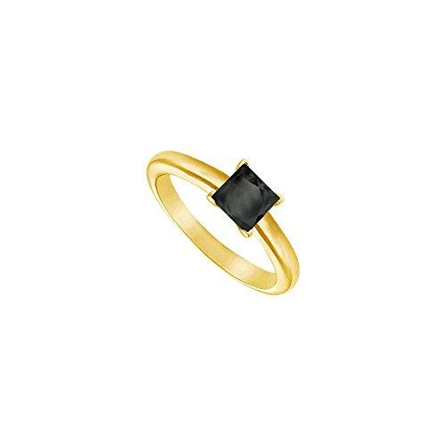 Black Diamond Princess Cut Solitaire Ring 14K Yellow Gold 1.00 CT Diamond