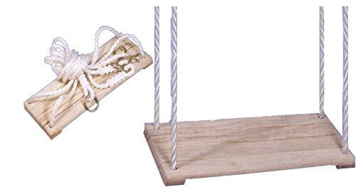 Izzy Brettschaukel Kinder-Schaukel aus Holz bis 50 kg belastbar, TÜV/GS, Schaukelsitz, Schaukelbrett, 40x17 cm (Maße: 40x17cm - 50 kg - Holzschaukel)