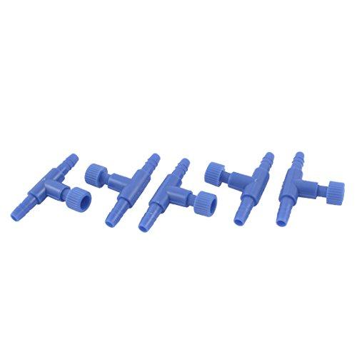 Sourcingmap Kunststoff 2-Wege Fisch Aquarium Air Pumpe Control Ventile, blau, 5Stück