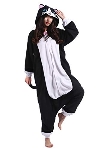 suit Tier Pyjamas Kostüm Fasching Onesie Damen Herren Karneval Cosplay Nachtwäsche, Schwarz Katze ()
