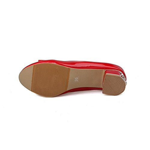 VogueZone009 Femme Verni Tire Rond à Talon Bas Couleur Unie Chaussures Légeres Rouge