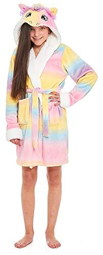 Slumber Hut® Mädchen Einhorn Morgenmantel Luxus Vlies - Kinder der Schlafrock Mehrfarbiger Regenbogen - Größe 7-8 Jahre