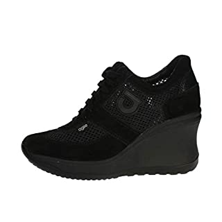 Agile by RucolineSneaker Black Pierced Woman with high Wedge Article 1800 A Soft White Chambers New Spring Summer 2018 Collection (40)