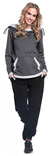 Happy Mama Damen Umstands-Hosen Joggers Niedrige Taille Seitentaschen Hose. 668p Schwarz