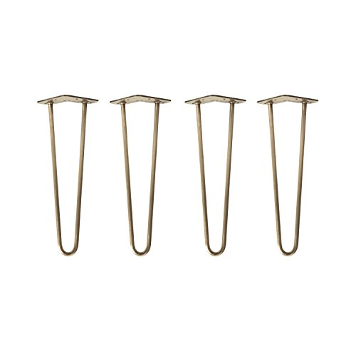 4x Natural Goods Berlin Tischbeine | Hairpin Legs | 40cm 2 Stangen | ANTIK GOLD galvanisiert | 12mm...