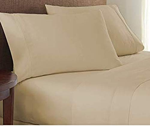 NRVS Homes & Designs Deluxe Hotels Qualitäts-Bettwäsche, Fadenzahl 1000, 100% ägyptische Baumwolle, Standard Queen, Beige -