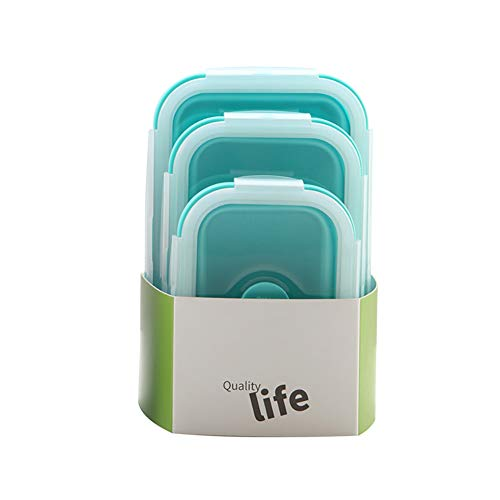 Xiton 3 Stück Kupfer Crisper Mikrowellen Crisper Silikon Lunchbox Lebensmittelaufbewahrung Kühlschrank versiegelte Box, Silikon, blau, S -