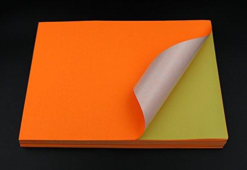 TOTAL HOME 20 Pcs A4 Size Fluorescent Orange Colour Self Adhesive / Sticker Labels Sheets Paper (Orange)