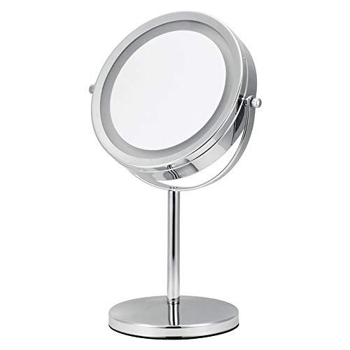 7 Pouces LED Miroirs de Maquillage, Double Face Miroir Mural, Miroir cosmétique 5 Fois grossissement, Charge par Batterie(Non Inclus)