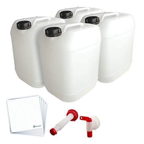 Trevendo® 4er Pack 20 Liter Leerkanister inkl. Auslaufhahn, Ausgießer flex und 10 Etiketten