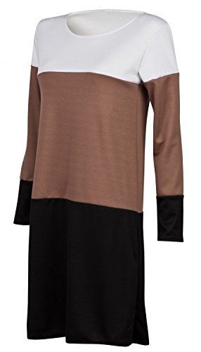Glamour Empire. Femme Robe droite mi-longue Color Block Manches Longues. 577 Blanc / Cappuccino