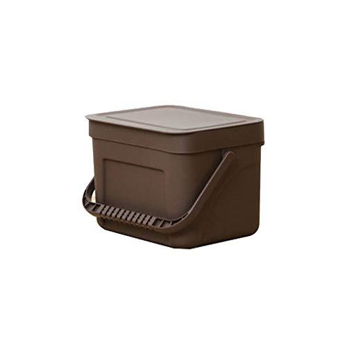Zlw-shop Secchi per la spazzatura Contenitore di immagazzinaggio Creativo Portatile della Parete del Bagno della Cucina della Parete fissato al Muro di Modo (Color : Brown -a)