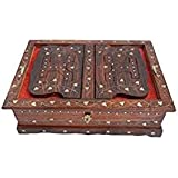 TRUSTSHOPPEE Wooden Hand Carved HOLY Book Stand And Box With Brass Work For Quran,Bible,GITA,VED,GURU Granth Sahib