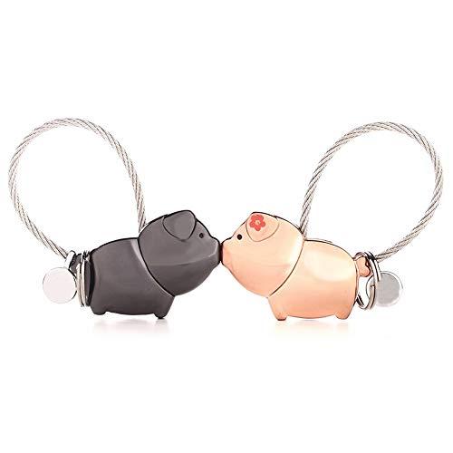 Suker portachiavi 1 paio portachiavi magnetico baciare il maiale per amante coppia oro rosa portachiavi in lega di zinco, regalo bello per matrimonio, san valentino, compleanno, natale