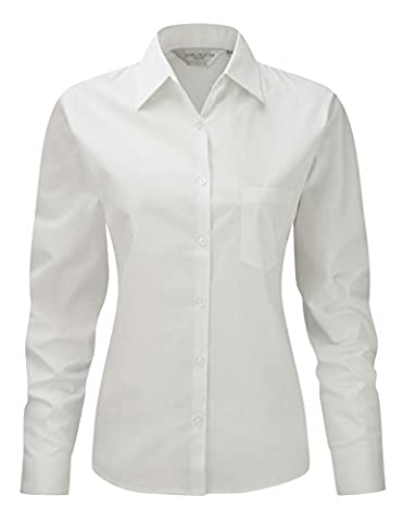 Russell''s ladies L/Slv 100% Cotton Poplin Shirt in White Size S / 10