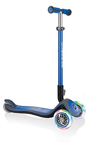 Globber Elite Deluxe Light Trottinette 3 Roues Jeunesse Unisexe, Bleu Foncé, Réglable en Hauteur