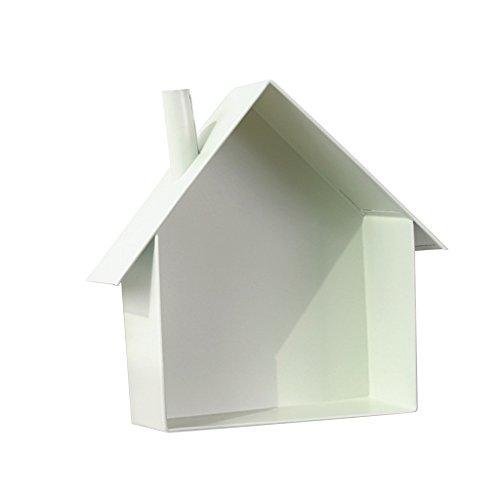 D DOLITY Landhaus Hausform Regal Wandregal Hängeregal Bücherregal für Bücher CD Blumen - Weiß -