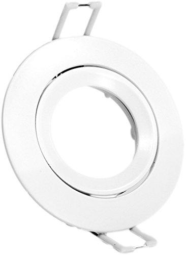 Eurekaled - 5 pezzi Portafaretto da Incasso Tondo Orientabile Bianco Opaco, per Faretto GU10 e MR16, Foro di Incasso 75mm, Diametro 85mm. PF2094