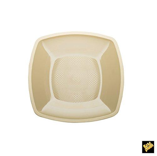 Assiettes Plate Square Plastique PP cfz 25pz 230 mm Champagne