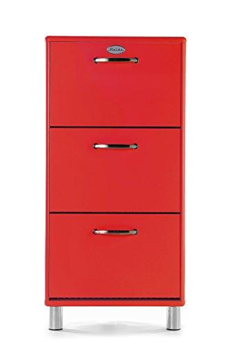 tenzo 5263-028 Malibu Designer Schuhschrank, MDF lackiert, 121 x 58 x 24 cm, rot