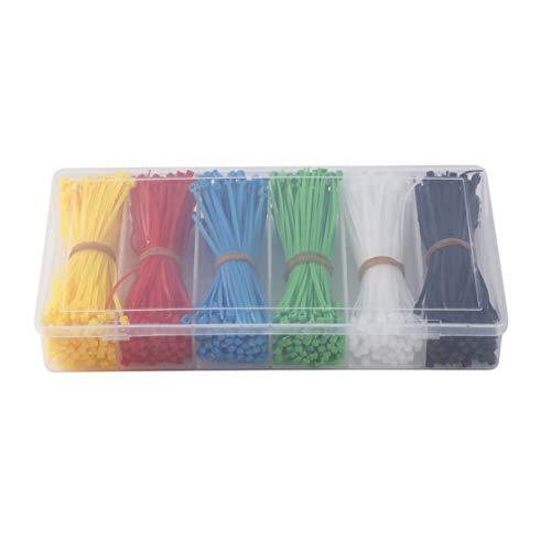 VIGE Attaches autobloquantes en Nylon de 900 pièces Attaches à glissière en Nylon Noir Blanc Rouge Jaune Bleu Vert 100mm Attaches en Plastique