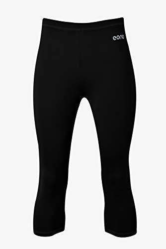 Eono Essentials halbhohe Capri-Yogahose aus 4-Wege-Stretch für Damen (Schwarz, Größe M)