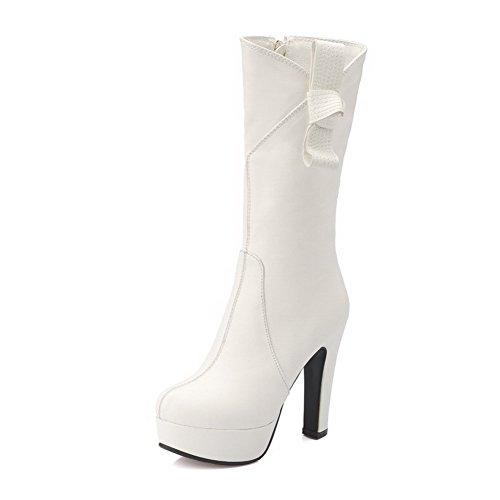 AllhqFashion Damen Mitte-Spitze Rein Hoher Absatz Rund Zehe Ziehen auf Stiefel, Weiß, 38