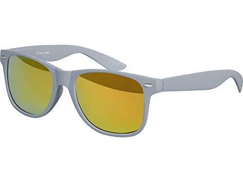 Balinco Hochwertige Nerd Sonnenbrille Rubber im Wayfarer Stil Retro Vintage Unisex Brille mit Federscharnier - 96 verschiedene Farben/Modelle wählbar (Grau - Rot/Orange verspiegelt)