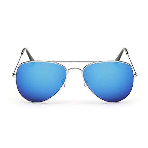 QHGstore Unisex Klassisch Männer / Frauen Metallrahmen Aviator Retro Sonnenbrille im Freien Spielraum Brillen Brillen Sliver frame & blau