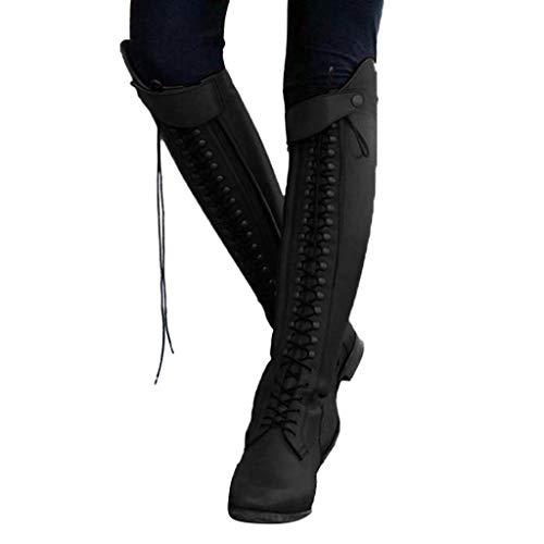 TianWlio Frauen Herbst Winter Stiefel Schuhe Stiefeletten Boots Stiefel Feste Metallniete Dicke Super High Heel Stiefeletten Runde Zehen Schuhe Schwarz 41