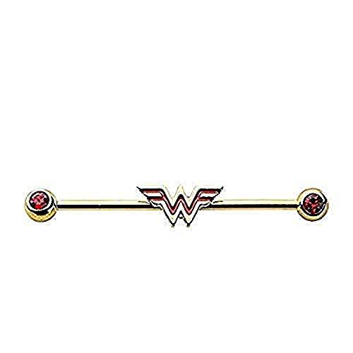 Lizensiertes DC Comics 316L Wonder Woman rot Logo Industrial Barbell–Größe: 14G-13/20,3cm (mit ()