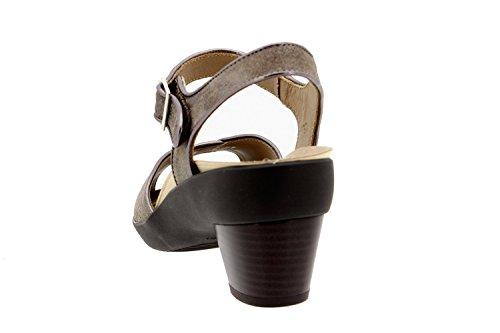 Komfort Damenlederschuh Piesanto 8443 sandale schuhe herausnehmbaren einlegesohlen bequem breit Visón
