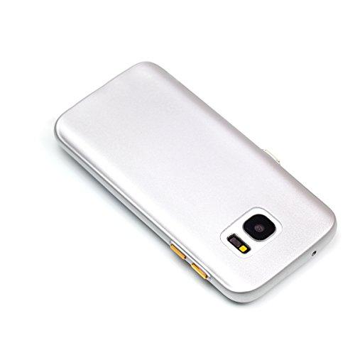 Galaxy S7 Edge Custodia, Galaxy S7 Edge G935 Cover, JAWSEU Ultra Sottile Slim Fit Morbida Silicone per Samsung Galaxy S7 Edge G935 Custodia Cover Case Puro Colore Matte Gomma Gel TPU Custodia Flessibi Puro Argento