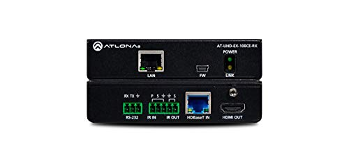 Atlona AT-UHD-EX100CERX/1710133 - AT-UHD-EX100CERX 4K/UHD HDMI Over 100 M HDBaseT Receiver with Ethernet, Control, and Poe Atlona Hdmi Digital Kabel