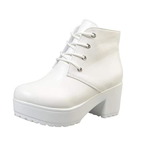 VJGOAL Damen Stiefel, 6CM Damen Mode Schnüren Sie Sich Knöchel-Flache Oxford-Leder-Keil-Hohe Absatz-Schuhe beiläufige Kurze -Stiefel (Weiß, 41 EU)