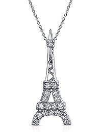 5b0f0ce59807 Torre Eiffel Francia Cubic Zirconia CZ colgantes para mujer Colgante Collar  con cadena de plata esterlina