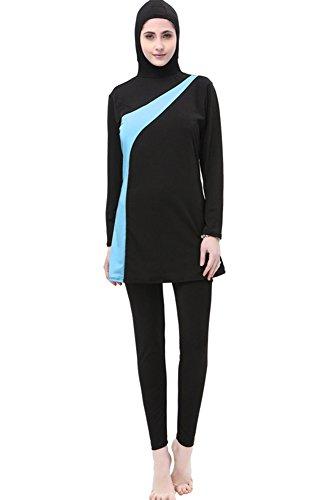 KINDOYO Muslimischen Damen Badeanzug Islamischen Bescheidene Badebekleidung Modest Swimwear Burkini, Schwarz+Blau, EU 2XL=Tag 3XL