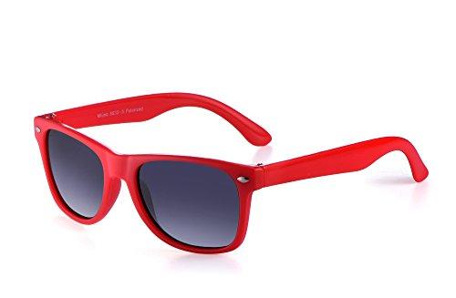 Miuno® Kinder Sonnenbrille Polarisiert Polarized Wayfare Etui 6833a (Rot)