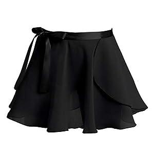 Agoky Damen Mädchen Ballettrock Chiffon Wickelrock zum binden luftig Tutu Tütü Rock Ballett Body Trikot Anzug Tanzkleidung Zubehör