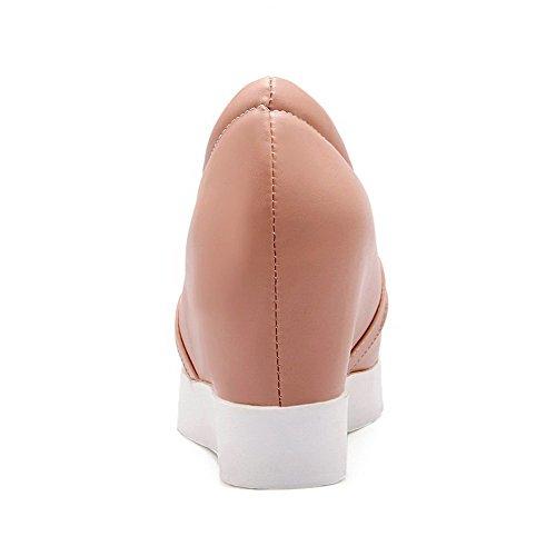 Légeres AgooLar Couleur Mélangee Tire Correct Rond Femme Rose Unie Talon à Chaussures Matière q6Or4wnq