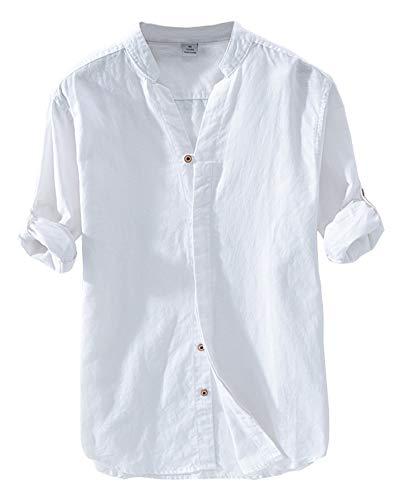 Camiseta,Hombre Cuello V Lino Camisas Color Sólido