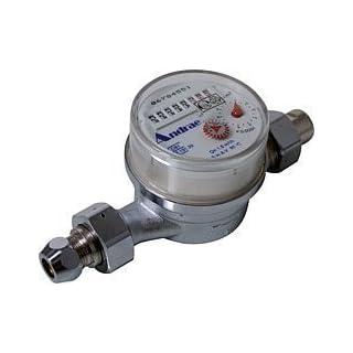Andrae Einstrahl - Waschtisch-Wohnungswasserzähler Kaltwasser Qn 1,5, 1,27 cm (1/2