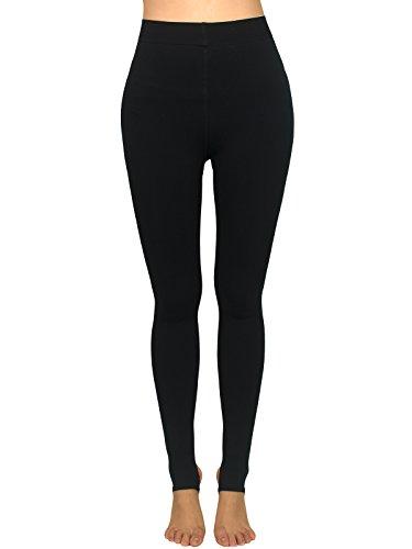 AMORETU Damen Winter Undurchsichtige Thermo Leggins Strumpfhose Schwarze/Hautfarbene 120D Stil C: Schwarz