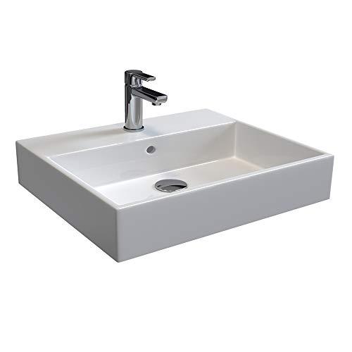 Aqua Bagno SOLO Design Keramik Waschbecken 60 cm weiß Aufsatzwaschtisch eckig Gäste WC Handwaschbecken wandmontage