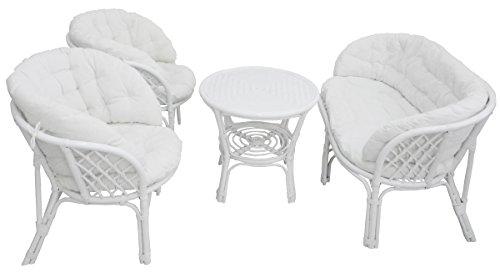 Set completo salotto in vimini bambù e rattan luna Bahama Bianco divano poltrone tavolo