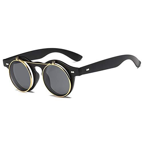 Daawqee Prämie Sonnenbrillen,Brillen,Fashion Round Steampunk Flip Up Sunglasses Men Women Vintage Double Layer Lens Design Classic Sun Glasses Oculos De Sol UV400 MattBlack BlackGrey