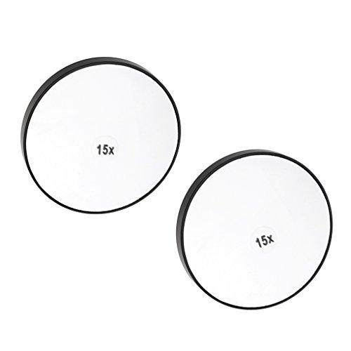 B Baosity 2X Runde Kosmetikspiegel Saugnapf Spiegel Vergrößerungsspiegel mit 3/5/15 Vergrößerung...