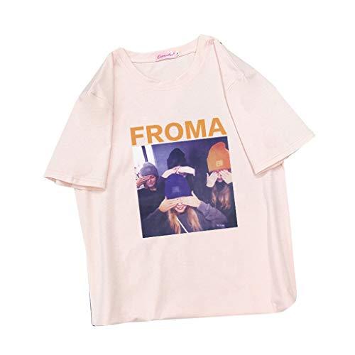 EERTX - ♛30 Tage bedingungslose Rückgabe♛/Damen Koreanisch Lose Lässige Tops/Mode gedruckt Muster/O-Ausschnitt Kurzarm/Frauen Sommer Wild T-Shirt Tees Bluse(Rosa,S) - Slim-tee-20 Beutel